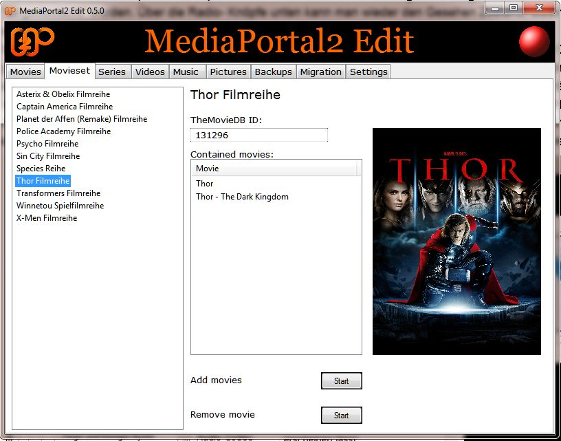 The movieset management is ready as with v 0.5.0